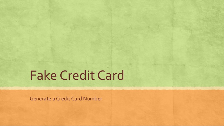 Fake credit card numbers for dating sites